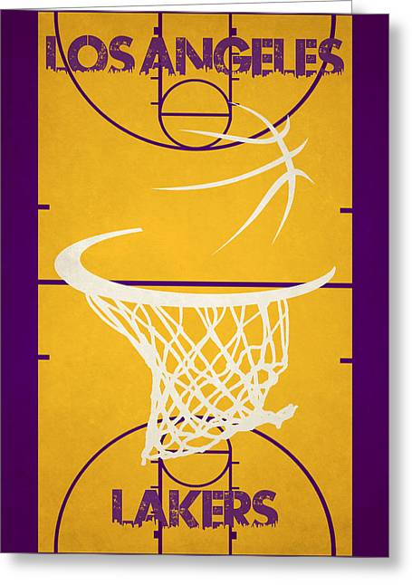 Los Angeles Lakers Greeting Cards - Los Angeles Lakers Court Greeting Card by Joe Hamilton