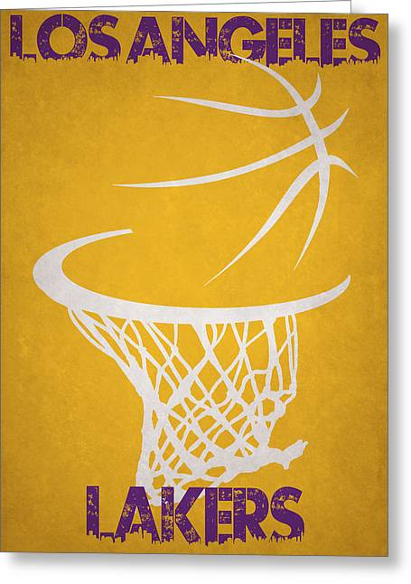 Los Angeles Lakers Greeting Cards - Los Angeles Lakers Hoop Greeting Card by Joe Hamilton