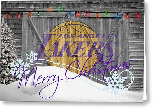 Dunk Photographs Greeting Cards - Los Angeles Lakers Greeting Card by Joe Hamilton