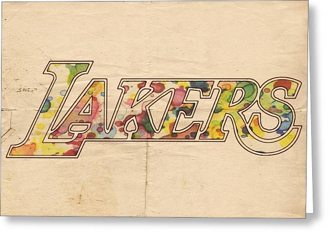 La Lakers Greeting Cards - Los Angeles Lakers Logo Art Greeting Card by Florian Rodarte