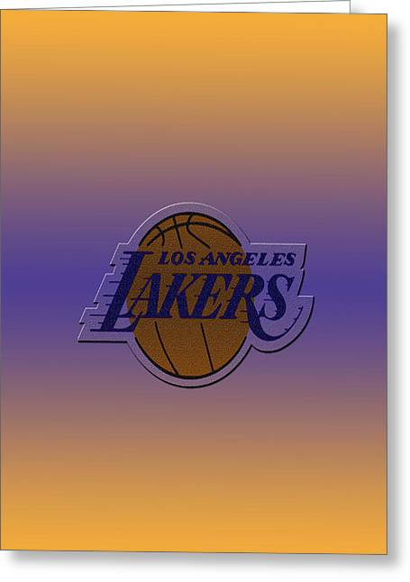 Basket Ball Game Greeting Cards - Los Angeles Lakers Greeting Card by Paulo Goncalves