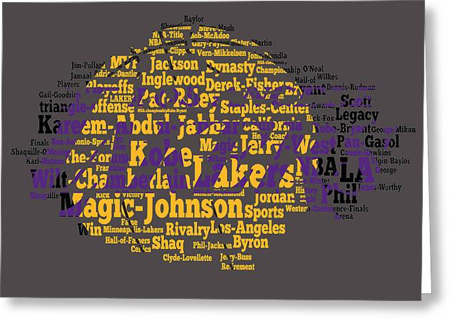 Karl Malone Greeting Cards - Los Angeles Lakers Word Cloud Greeting Card by Brian Reaves