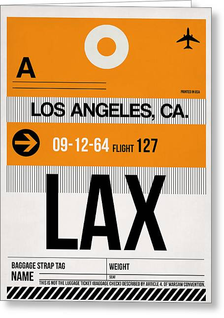 Town Mixed Media Greeting Cards - Los Angeles Luggage Poster 2 Greeting Card by Naxart Studio