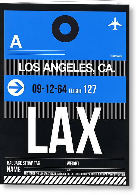 Plane Greeting Cards - Los Angeles Luggage Poster 3 Greeting Card by Naxart Studio