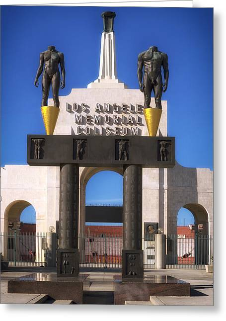 Usc Greeting Cards - Los Angeles Memorial Coliseum Greeting Card by Mountain Dreams