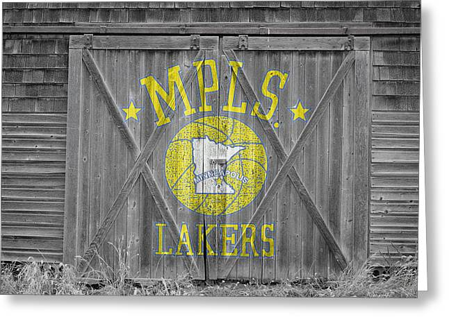 3 Pointer Greeting Cards - Los Angeles Milwaukee Lakers Greeting Card by Joe Hamilton
