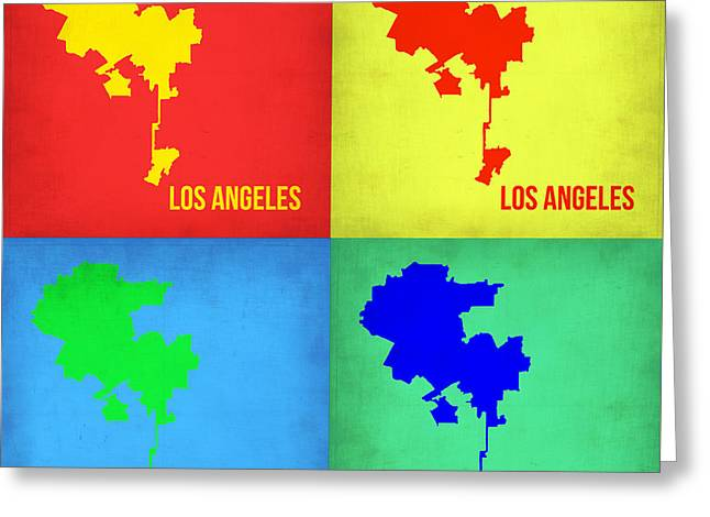California Art Greeting Cards - Los Angeles Pop Art Map 1 Greeting Card by Naxart Studio