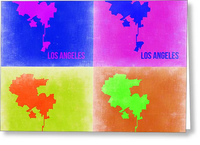 California Art Greeting Cards - Los Angeles Pop Art Map 2 Greeting Card by Naxart Studio