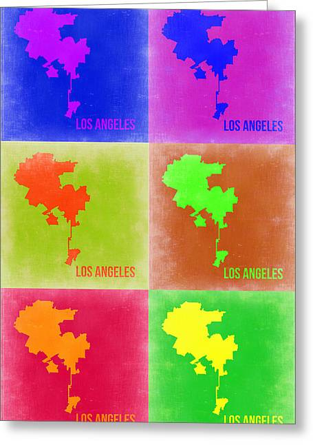California Map Greeting Cards - Los Angeles Pop Art Map 3 Greeting Card by Naxart Studio