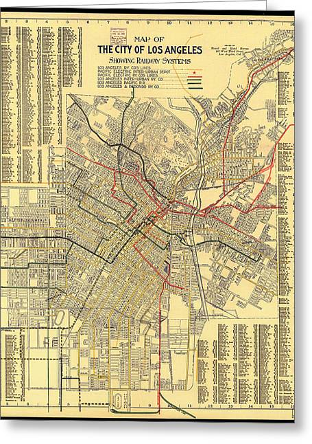 Los Angeles Drawings Greeting Cards - Los Angeles Rail System Map 1906 Greeting Card by Mountain Dreams