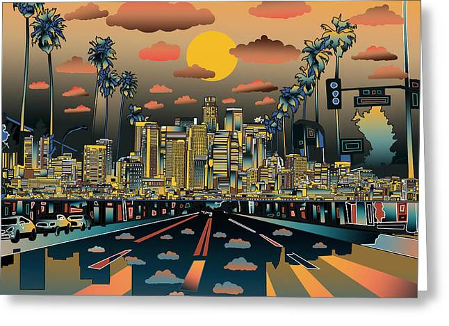 California Art Greeting Cards - Los Angeles Skyline Abstract 2 Greeting Card by MB Art factory