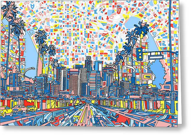 Abstract Map Greeting Cards - Los Angeles Skyline Abstract 3 Greeting Card by MB Art factory