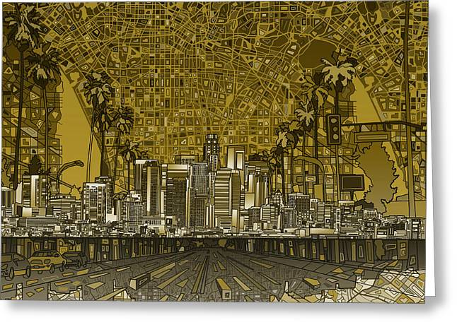Abstract Map Greeting Cards - Los Angeles Skyline Abstract 4 Greeting Card by MB Art factory