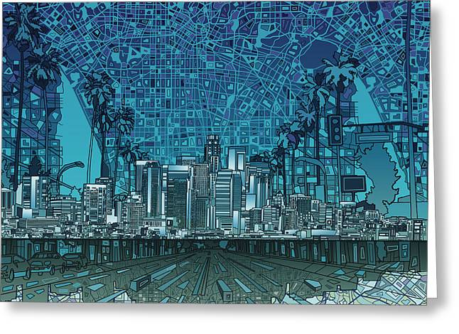 Abstract Map Greeting Cards - Los Angeles Skyline Abstract 5 Greeting Card by MB Art factory