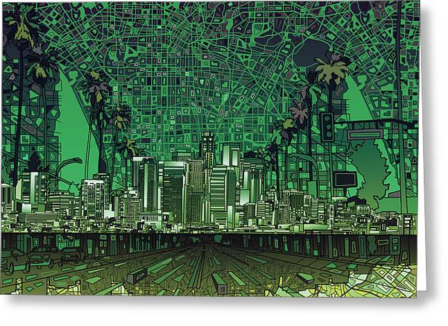 Abstract Map Greeting Cards - Los Angeles Skyline Abstract 6 Greeting Card by MB Art factory