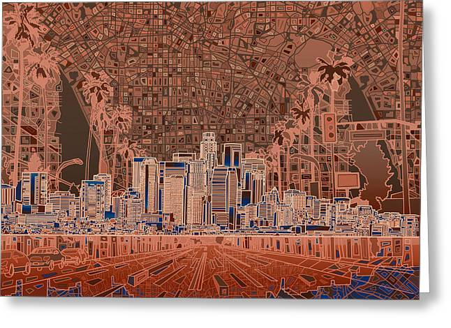 Abstract Map Greeting Cards - Los Angeles Skyline Abstract 7 Greeting Card by MB Art factory