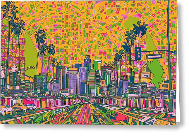 Abstract Map Greeting Cards - Los Angeles Skyline Abstract Greeting Card by MB Art factory