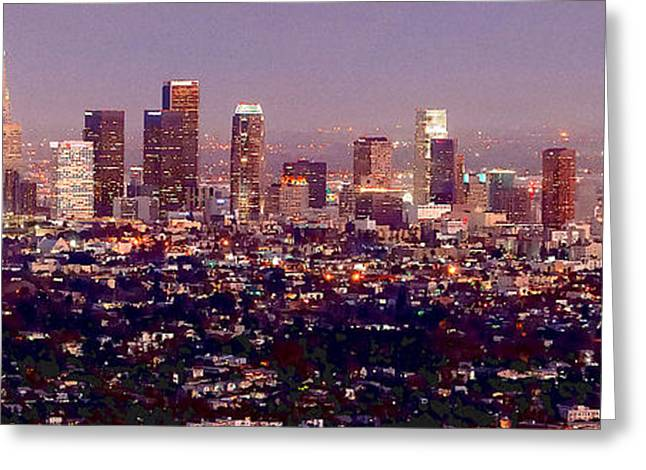 La Downtown Greeting Cards - Los Angeles Skyline at Dusk Greeting Card by Jon Holiday