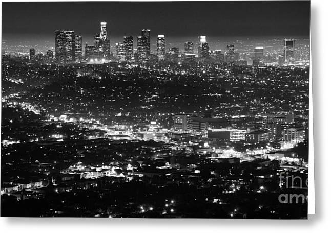 Los Angeles Skyline At Night Monochrome Greeting Card by Bob Christopher