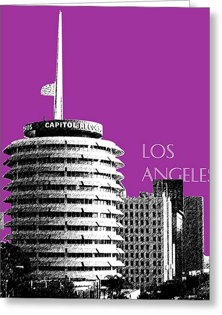 Sketch Greeting Cards - Los Angeles Skyline Capitol Records - Plum Greeting Card by DB Artist