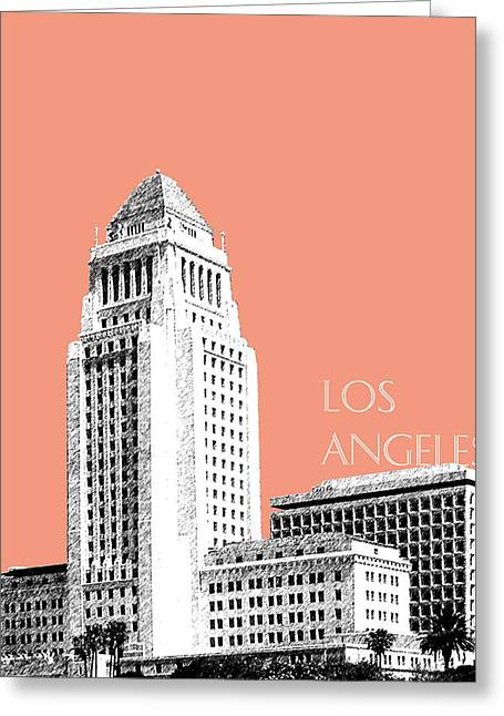 Los Angeles Skyline City Hall - Salmon Greeting Card by DB Artist
