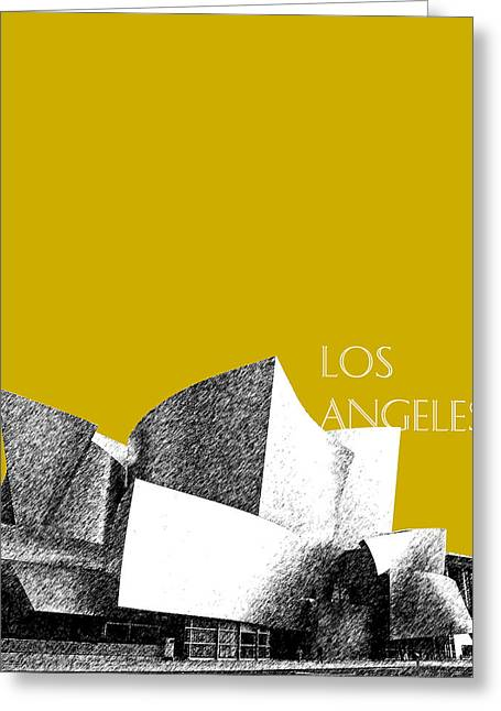 Los Angeles Skyline Disney Theater - Gold Greeting Card by DB Artist