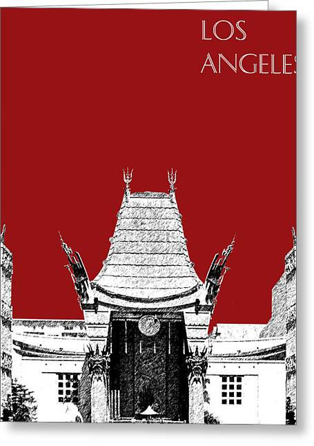Movie Theater Greeting Cards - Los Angeles Skyline Graumans Chinese Theater - Dark Red Greeting Card by DB Artist