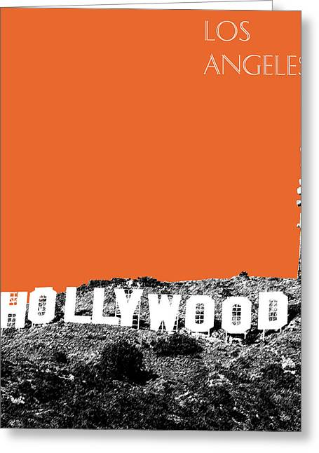 Los Angeles Skyline Hollywood - Coral Greeting Card by DB Artist