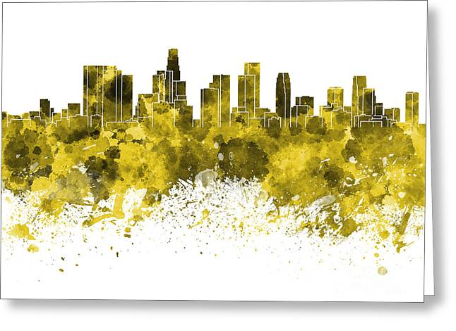 Recently Sold -  - California Art Greeting Cards - Los Angeles skyline in yellow watercolor on white background Greeting Card by Pablo Romero
