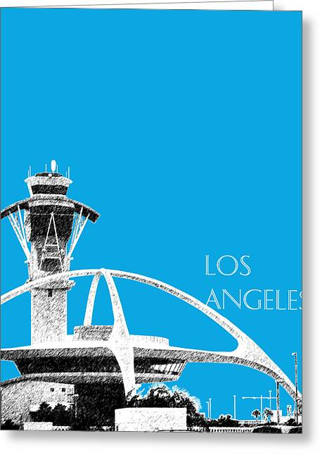 Airport Terminal Greeting Cards - Los Angeles Skyline LAX Spider - Ice Blue Greeting Card by DB Artist