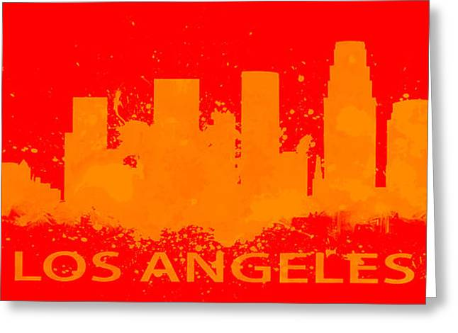 Los Angeles Lakers Paintings Greeting Cards - Los Angeles Skyline Paint Splatter Greeting Card by Brian Reaves