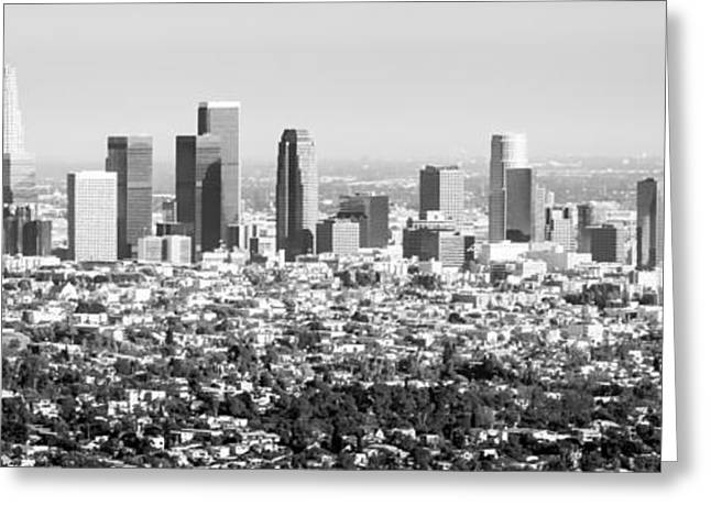 Print Photographs Greeting Cards - Los Angeles Skyline Panorama Photo Greeting Card by Paul Velgos