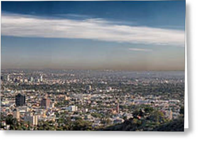 Industrial Pyrography Greeting Cards - Los Angeles Skyline Panorama Greeting Card by Will D