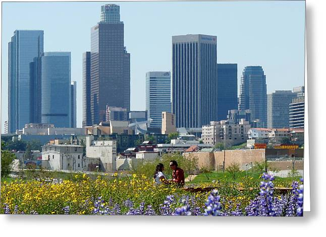 L.a. Woman Greeting Cards - Los Angeles Skyline Romance Greeting Card by Jeff Lowe