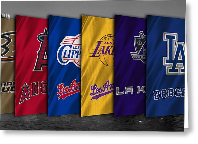 Los Angeles Clippers Greeting Cards - Los Angeles Sports Teams Greeting Card by Joe Hamilton