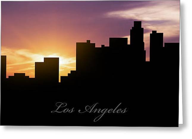 Los Angeles Sunset Greeting Card by Aged Pixel