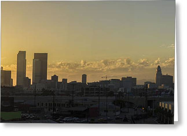 Citites Greeting Cards - Los Angeles Sunset Greeting Card by James Thompson