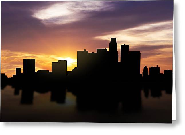 Los Angeles Sunset Skyline  Greeting Card by Aged Pixel