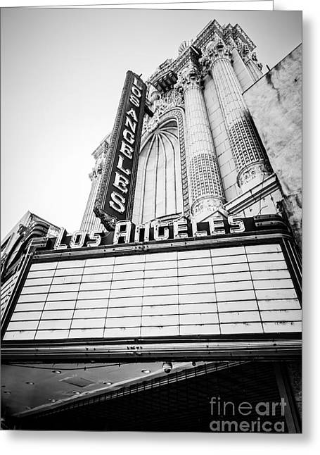 Theatre Photographs Greeting Cards - Los Angeles Theatre Sign in Black and White Greeting Card by Paul Velgos