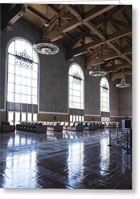 Los Angeles Union Station Original Ticket Lobby Vertical Greeting Card by Belinda Greb