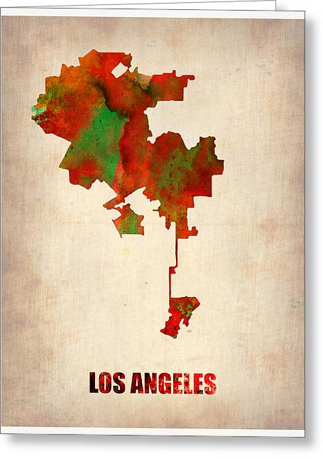 California Map Greeting Cards - Los Angeles Watercolor Map Greeting Card by Naxart Studio