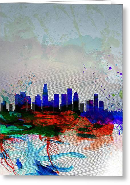 La Downtown Greeting Cards - Los Angeles  Watercolor Skyline 1 Greeting Card by Naxart Studio