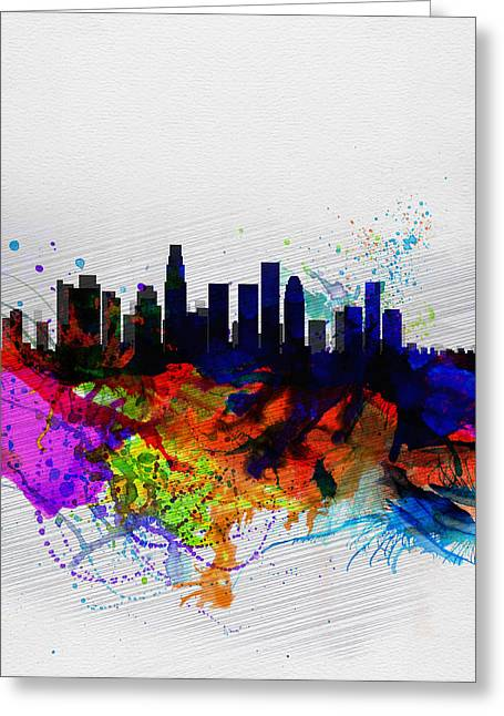 United States Capital Greeting Cards - Los Angeles  Watercolor Skyline 2 Greeting Card by Naxart Studio