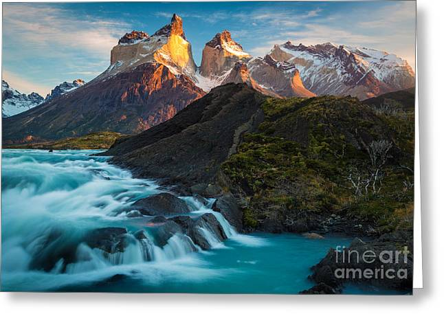Paine Greeting Cards - Los Cuernos Majesty Greeting Card by Inge Johnsson