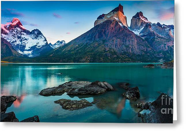 Paine Greeting Cards - Los Cuernos Panorama Greeting Card by Inge Johnsson