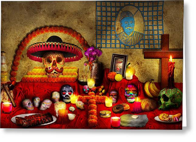 Marigold Festival Greeting Cards - Los dios muertos - Rembering loved ones Greeting Card by Mike Savad