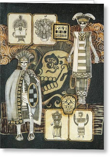 Indian Ink Mixed Media Greeting Cards - Los Indios Greeting Card by Candy Mayer