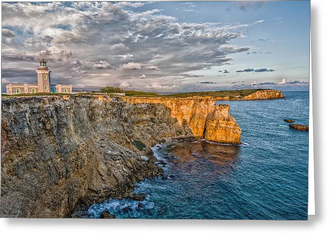 Cliffs Photographs Greeting Cards - Los Morrillos Light in Puerto Rico Greeting Card by Andres Leon