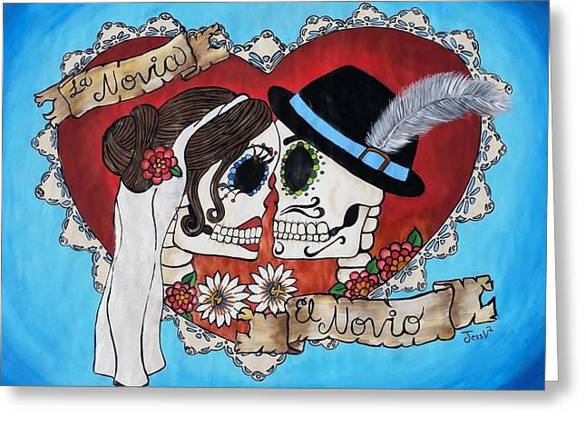 Romantico Greeting Cards - Los Novios Greeting Card by Jessica  Venzor