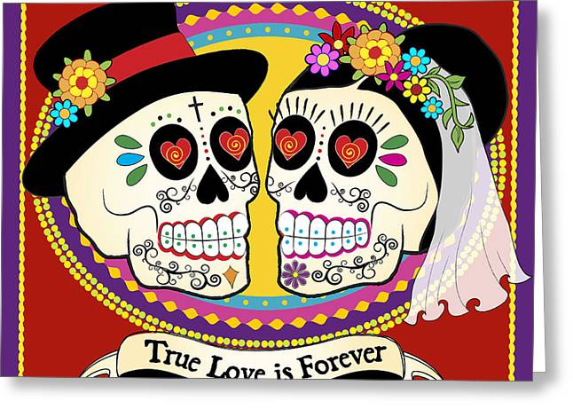 Spanish Greeting Cards - Los Novios Sugar Skulls Greeting Card by Tammy Wetzel